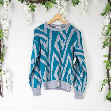 Vintage Teal Aztec Sweater