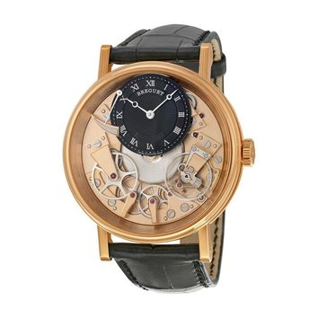 Breguet Mens Tradition 18K Gold Black Skeleton Hand Wind Watch 7057BR/R9/9W6