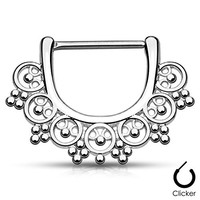 "Pair Body Jewelry 14ga (1.6mm) 1/2""(12mm) Nipple Bar Clicker Ring or Barbell Tribal Bead design 316l Surgical Steel"