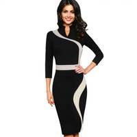 Womens Vintage Contrast Colorblock Slimming Wear To Work Office Business Casual Party Pencil Sheath Bodycon Dress