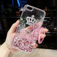 For iPhone 5 6 6S 7 Plus For Samsung S6 S7 edge S8 Plus Note5 Luxury Bling Crown Liquid quicksand shell Lanyard soft phone case