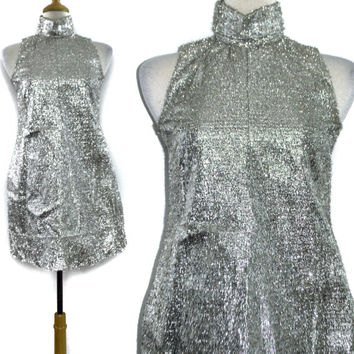 Vintage 60s Space Age Mod Go-Go Short Shift Silver Tinsel Dress