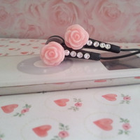Sweet Baby Pink Sparkle Rose Black Earbuds with Swarovski crystals