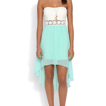 White and Light Blue Strapless Sleeveless Chiffon Dress