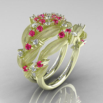 Nature Classic 14K Green Gold Pink and White Sapphire Cluster Leaf and Vine Engagement Ring Wedding Band Set R343SS-14KGRGWSPS