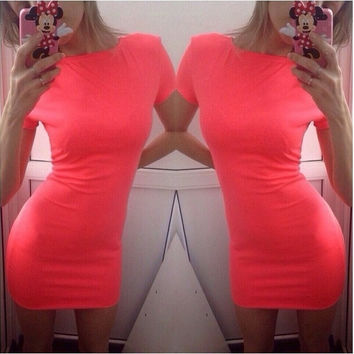 women summer sexy bodycon mini dress fashion candy color casual o-neck short sleeve slim dresses QAF205 [7955617415]