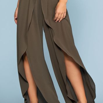 Find Me Seaside Culotte Pants - Olive