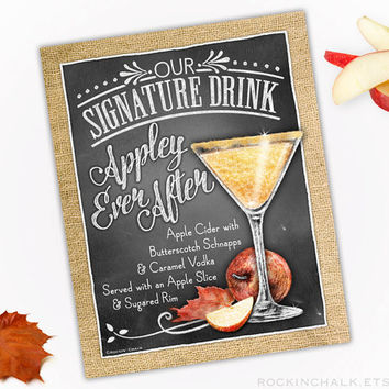 Fall Autumn Wedding Decoration | Signature Drink Sign | As-Is or Personalized Wedding Keepsake | Appley Ever After Martini Drink Sign