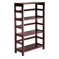 3-Shelf Wooden Shelving Unit Bookcase in Espresso Finish