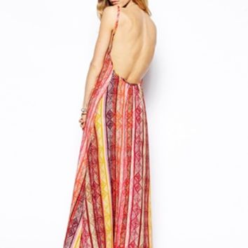 Flynn Skye Scoop Back Maxi Dress in Sunset Print - Sunset