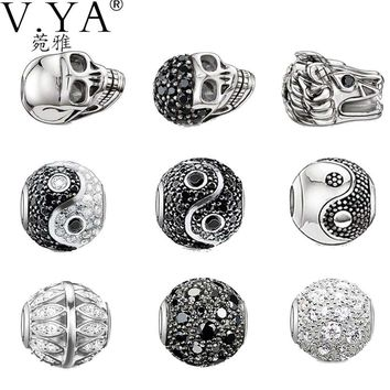 DIY Jewelry Accessories Skull Charms Ying Yang Beads fit for Pandora Bracelets Necklac