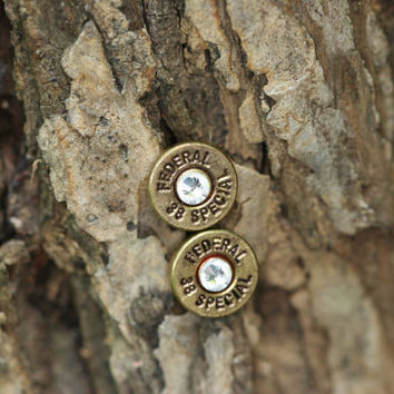 Bullet jewelry, bullet earrings, 38 special brass bullet earring, bullet stud earrings, bullet post earrings with crystals, brass colored.