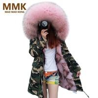 2017 New Long Camouflage Winter Jacket Women Outwear Thick Parkas Natural Real Fox Fur Coat Hooded Pelliccia