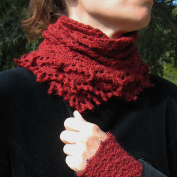 Shawl Scarf Wrap Cheche crochet crocheted wool alpaca warm winter Christmas handknitted handmade intense red d