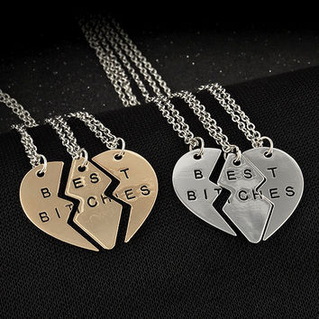 """New Hot """"Best Bitches"""" Letter Splice Together Heart Pendant Chain Necklace Women Girls Sister Friendship Gifts 3 Pcs\set"""