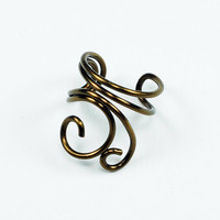 Ear Cuff - Vintage Brass Colored Mini Swirls