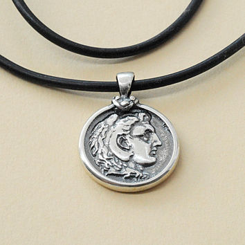 Unisex Necklace Silver Alexander the Great Ancient Greek Coin Inspired