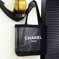 Chanel New Fashion Net Shopping Bag Beach Swimming Bag Fitness Transparent Wash Gargle Mesh Bag Single Shoulder Bag Handbag I12168-1