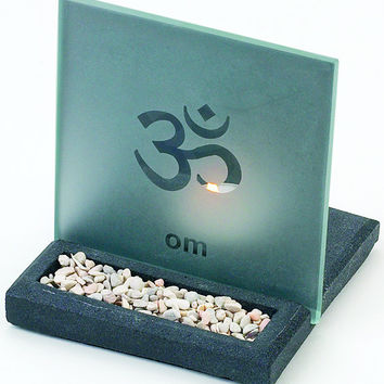 Etched OM Tealight Candle Holder & Mini Stone Garden