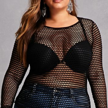 Plus Size Open-Knit Top