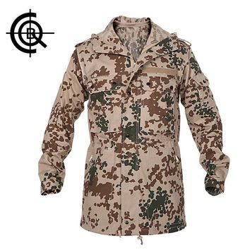 CQB Brand Men Outdoor Overcoat Breathable Coat Military Camouflage Jackets Loose Hooded Cotton Windbreaker Hiking Jacket SY0155