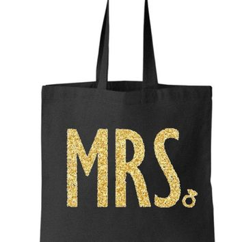 Gold Silver or your choice Glitter Mrs Black Tote Bag - Bride to Be, Newlywed, Bridal, Wedding, Shower, Bachelorette Party Gift