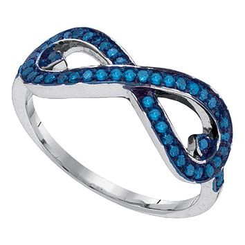 10k Gold Women's Blue Round Diamond Infinity Ring - FREE Shipping (US/CA)