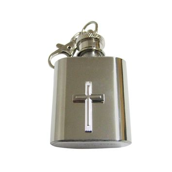 Silver Toned Textured Cross 1 Oz. Stainless Steel Key Chain Flask