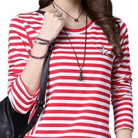 Casual Strip Round Collar Long Sleeve Thin Cotton Women Shirt