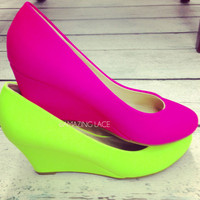 It's A Lovely Day Neon Lime Mini Wedges