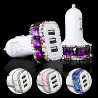 Crystal Car usb Charger 3 USB, Car USB Power Outlet Adapter Bling Crystal Car Decor Accessories