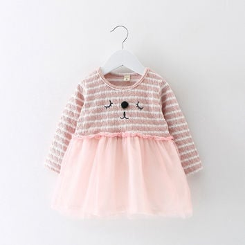Fashion Autumn Long Sleeve Baby Infants Girls Kids Cute Cartoon Cat Striped Mesh Patchwork Tutu Princess Dress Vestidos S3895