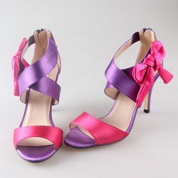 Creativesugar handmade satin crossed band bow sandals two colors assorted bridal summer shoes wedding party prom hotpink violet