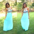 Tres Chic Tribal Maxi Dress in Mint