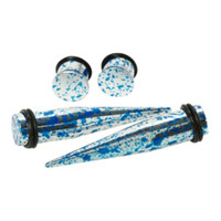 Acrylic Metallic Blue & Silver Splatter Taper And Plug 4 Pack