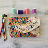Hand Painted Clutch - Map of the World
