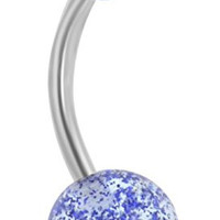 14g Grade 23 Titanium Blue Ultra Glitter Acrylic Double Ball Belly Button Ring