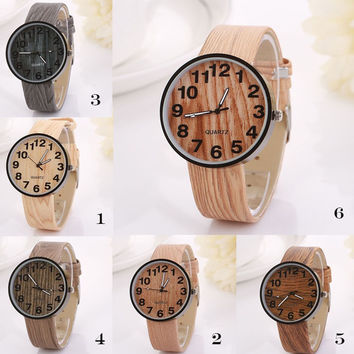 [flash Women Vintage Wood Texture Grain Digital Quartz Watch [8824563783]