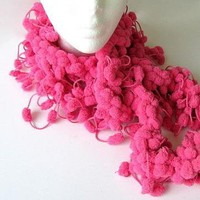 Pink Puff Boa Scarf by AllAboutTheButtons on Zibbet