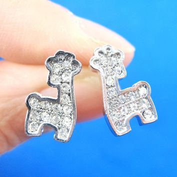 Giraffe Shaped Small Animal Stud Earrings in Silver with Rhinestones