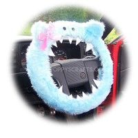 Fuzzy Baby blue faux fur monster car steering wheel cover with cute pink bow