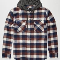 Elixir Hawk Mens Hooded Flannel Shirt Brown  In Sizes