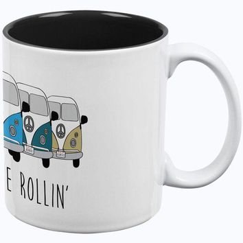 PEAPGQ9 Hippie Van They See Me Rollin' Bus Camper All Over Coffee Mug