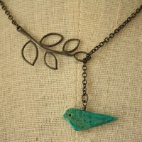 Turquoise Blue Bird and Branch Lariat Bridal Necklace by FreshyFig