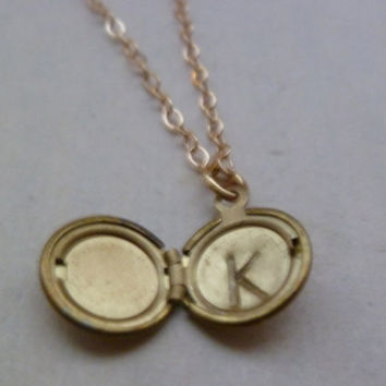 Personalized mini locket necklace by littlepancakes on Etsy