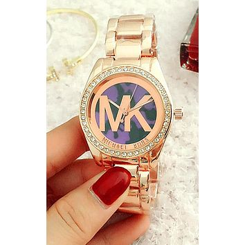 Michael Kors MK New Trending Women Men Casual Colorful Dial Quartz Watch Diamond Movement Wristwatch Watch Purple I-Fushida-8899