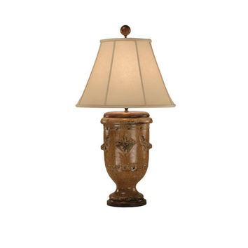 Zeugma Import ZG131 FRENCH TURQUOISE Pottery Lamp w/Linen Shade