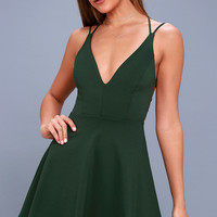 Believe in Love Forest Green Backless Skater Dress
