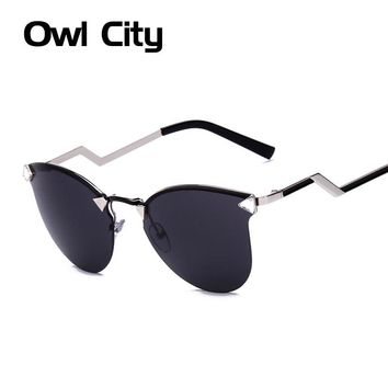 Owl City Women Sunglasses Vintage Fashion Metale Leg Sun glasses Cat eye Shades Luxury Brand Designer Oculos de sol feminino