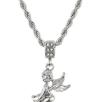 Cherub Pendant with a 24 Inch 4mm Rope Chain Necklace (Silvertone)